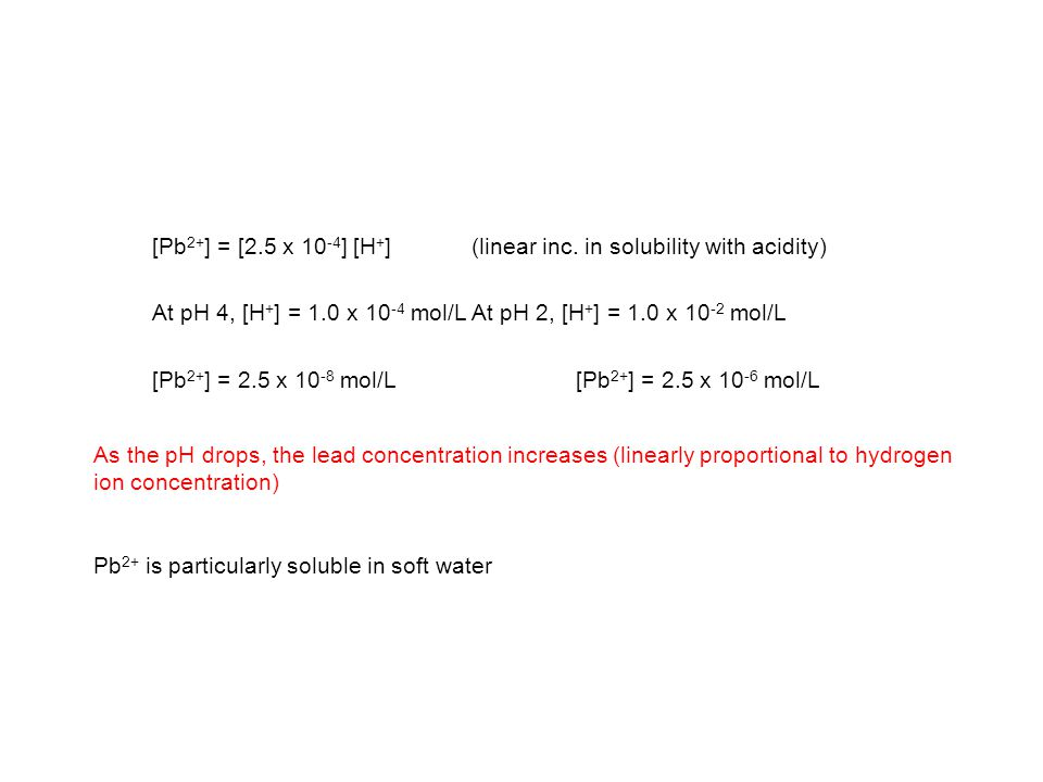 [Pb2+] = [2.5 x 10-4] [H+] (linear inc. in solubility with acidity)